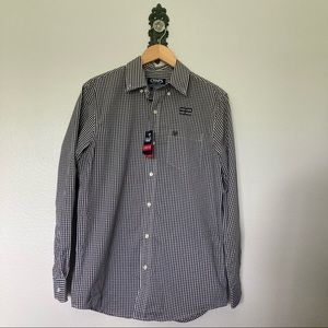 Chaps Easy Care Gingham Button Down Shirt NWT